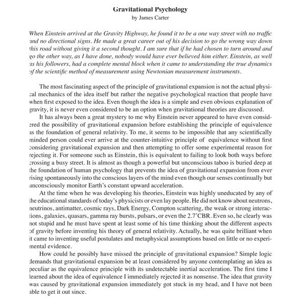 Gravitational Psychology - Living Universe